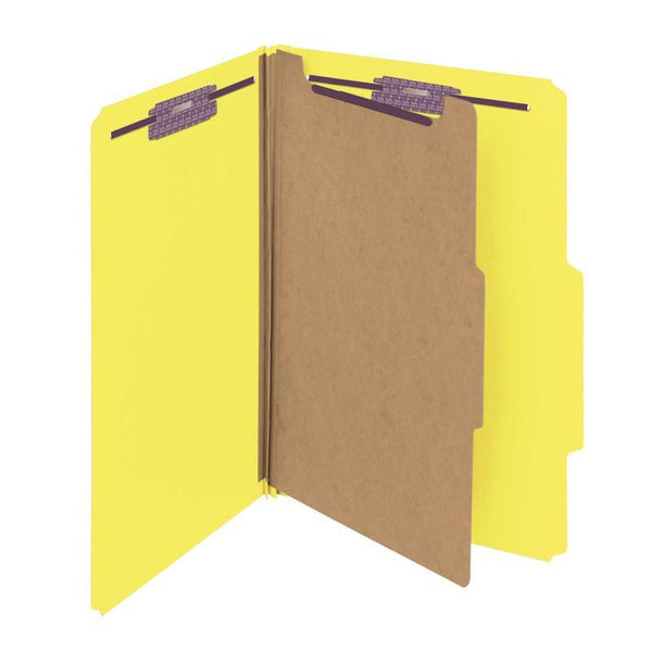 "Smead Pressboard Classification File Folder with SafeSHIELD® Fasteners, 1 Divider, 2"" Expansion, Legal Size, Yellow, 10 per Box (18734)"