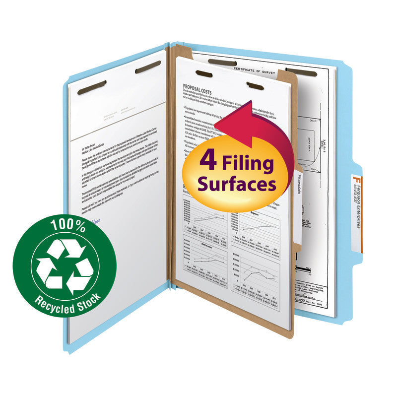 "Smead 100% Recycled Pressboard Classification Folder, 1 Divider, 2"" Expansion, Legal Size, Blue, 5 per Pack (18748)"