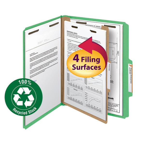 "Smead 100% Recycled Pressboard Classification Folder, 1 Divider, 2"" Expansion, Legal Size, Green, 5 per Pack (18749)"