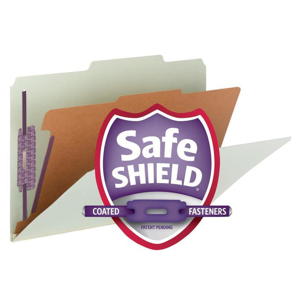 "Smead Pressboard Classification File Folder with SafeSHIELD® Fasteners, 1 Divider, 2"" Expansion, Legal Size, Gray/Green, 10 per Box (18776)"