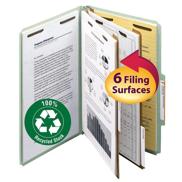 "Smead 100% Recycled Pressboard Classification File Folder, 2 Dividers, 2"" Expansion, Legal Size, Gray/Green, 10 per Box (19022)"