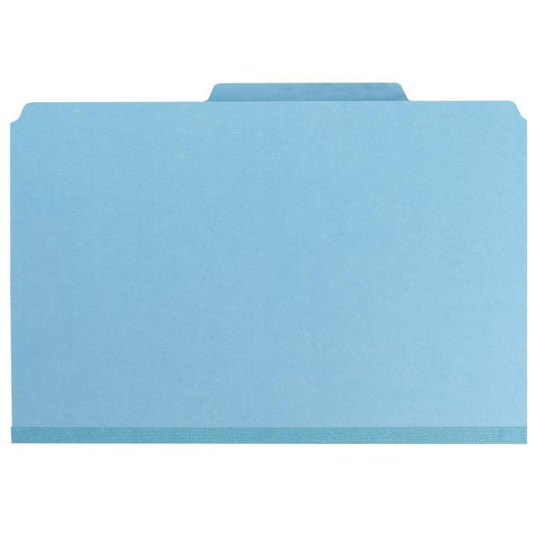 "Smead Pressboard Classification File Folder with SafeSHIELD® Fasteners, 2 Dividers, 2"" Expansion, Legal Size, Blue, 10 per Box (19030)"