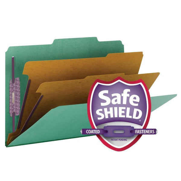 "Smead Pressboard Classification File Folder with SafeSHIELD® Fasteners, 2 Dividers, 2"" Expansion, Legal Size, Green, 10 per Box (19033)"