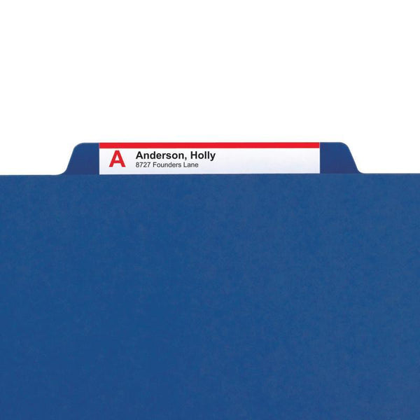 "Smead Pressboard Classification Folder with SAfeSHIELD® Fasteners, 2 Divider, 2"" Expansion, Legal Size, Dark Blue, 10 per Box (19035)"