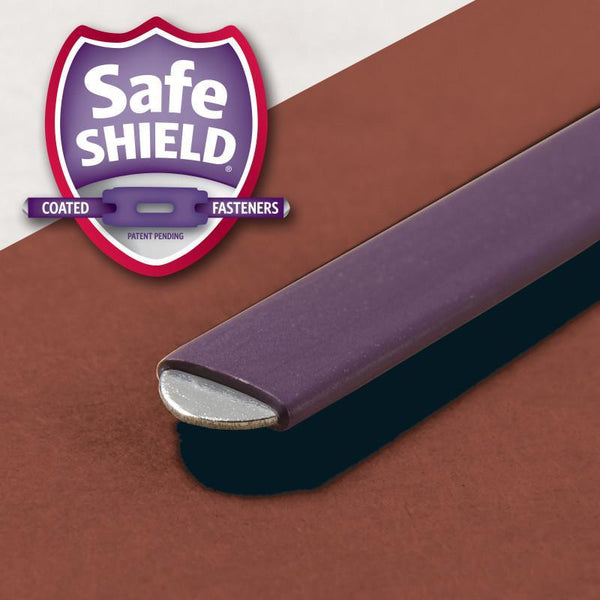 "Smead Pressboard Classification File Folder with SafeSHIELD® Fasteners, 2 Dividers, 2"" Expansion, Legal Size, Red, 10 per Box (19075)"