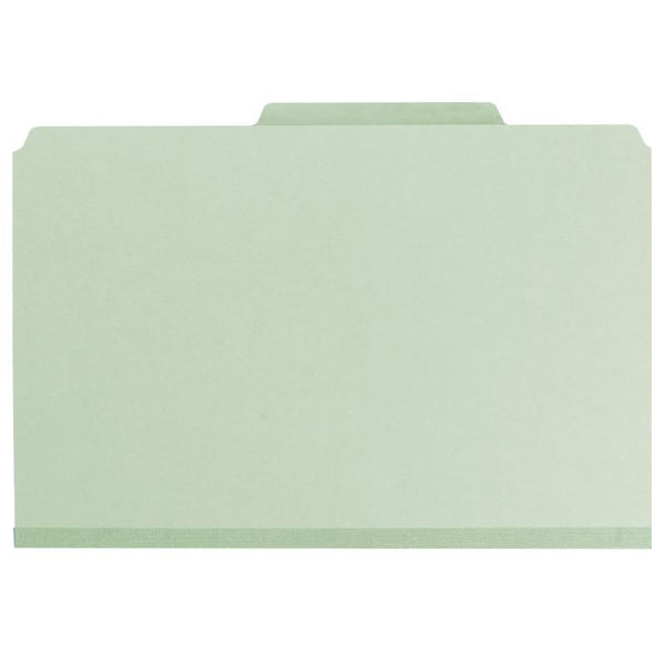 "Smead Pressboard Classification File Folder with SafeSHIELD® Fasteners, 2 Dividers, 2"" Expansion, Legal Size, Gray/Green, 10 per Box (19076)"