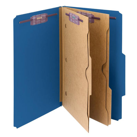 Smead Pressboard Classification File Folder with Wallet Divider and SafeSHIELD® Fasteners, 2 Dividers, Legal Size, Dark Blue, 10 per Box (19077)