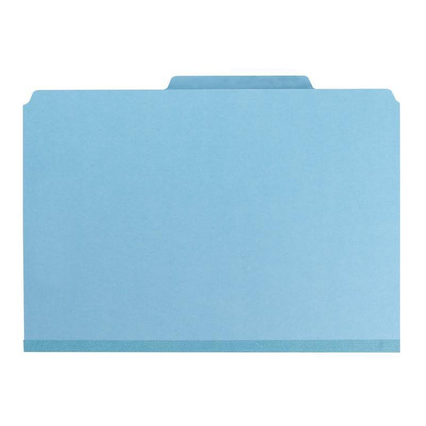 Smead Pressboard Classification File Folder with Wallet Divider and SafeSHIELD® Fasteners, 2 Dividers, Legal Size, Blue, 10 per Box (19081)