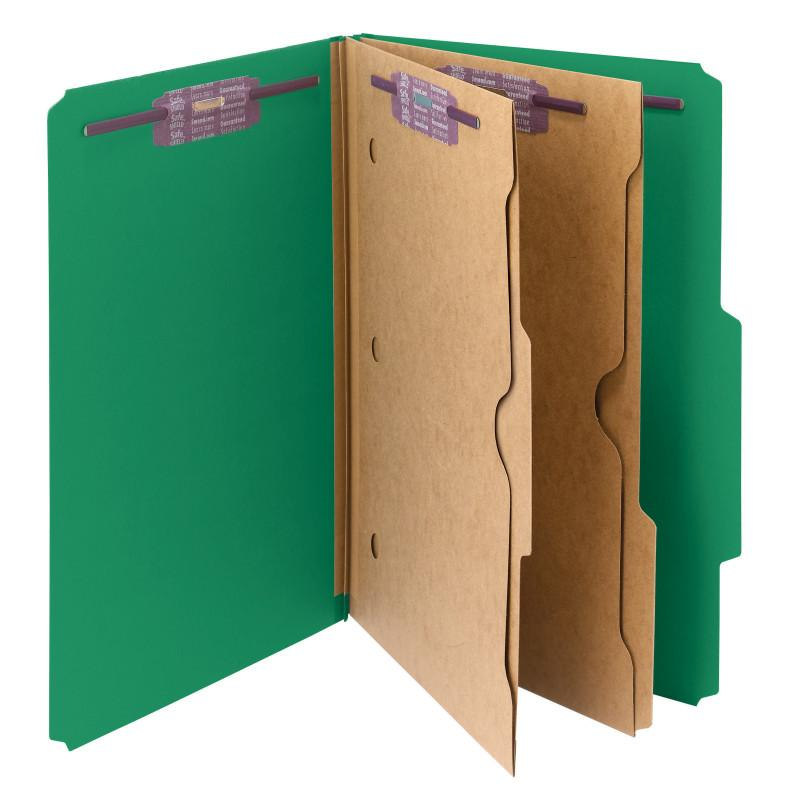 Smead Pressboard Classification File Folder with Wallet Divider and SafeSHIELD® Fasteners, 2 Dividers, Legal Size, Green, 10 per Box (19083)