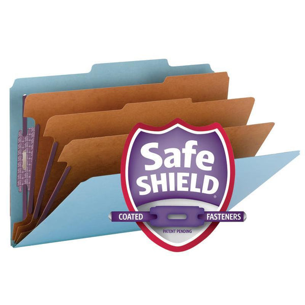 "Smead Pressboard Classification File Folder with SafeSHIELD® Fasteners, 3 Dividers, 3"" Expansion, Legal Size, Blue, 10 per Box (19094)"