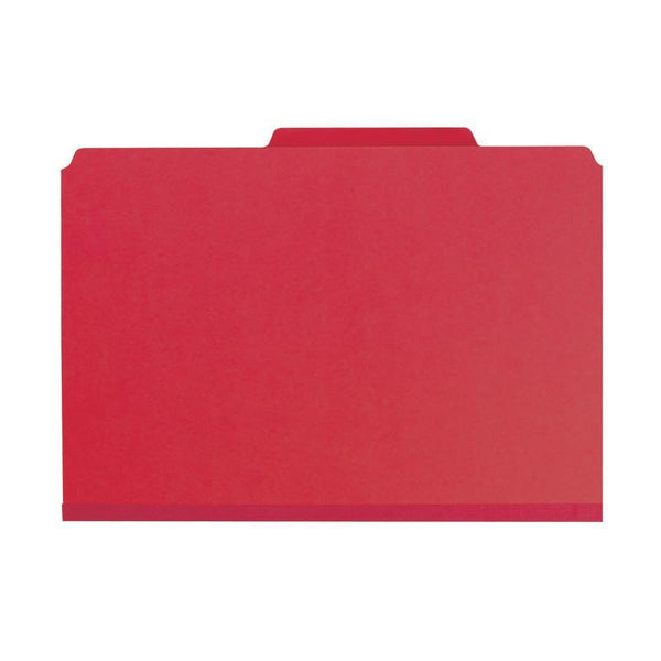 "Smead Pressboard Classification File Folder with SafeSHIELD® Fasteners, 3 Dividers, 3"" Expansion, Legal Size, Bright Red, 10 per Box (19095)"