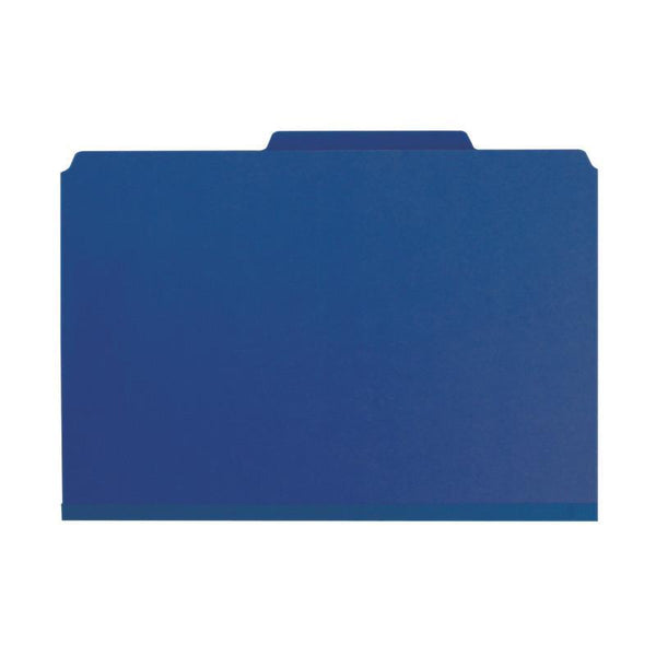 "Smead Pressboard Classification File Folder with SafeSHIELD® Fasteners, 3 Dividers, 3"" Expansion, Legal Size, Dark Blue, 10 per Box (19096)"