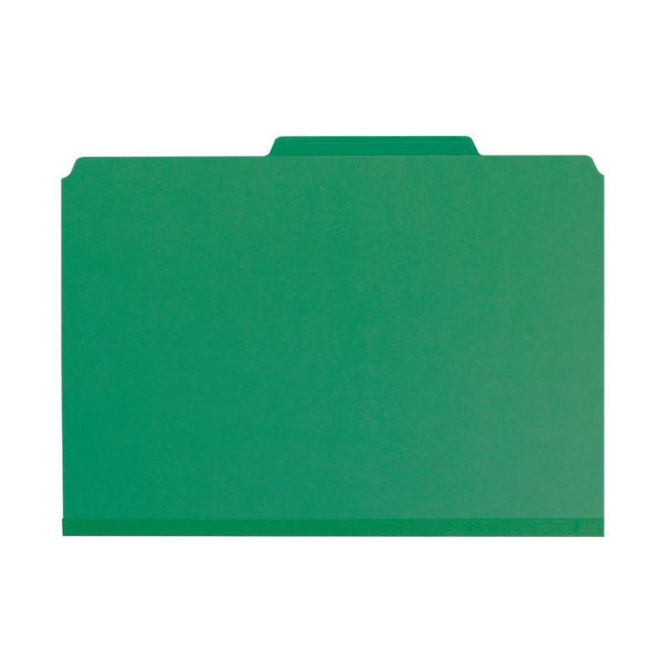 "Smead Pressboard Classification File Folder with SafeSHIELD® Fasteners, 3 Dividers, 3"" Expansion, Legal Size, Green, 10 per Box (19097)"