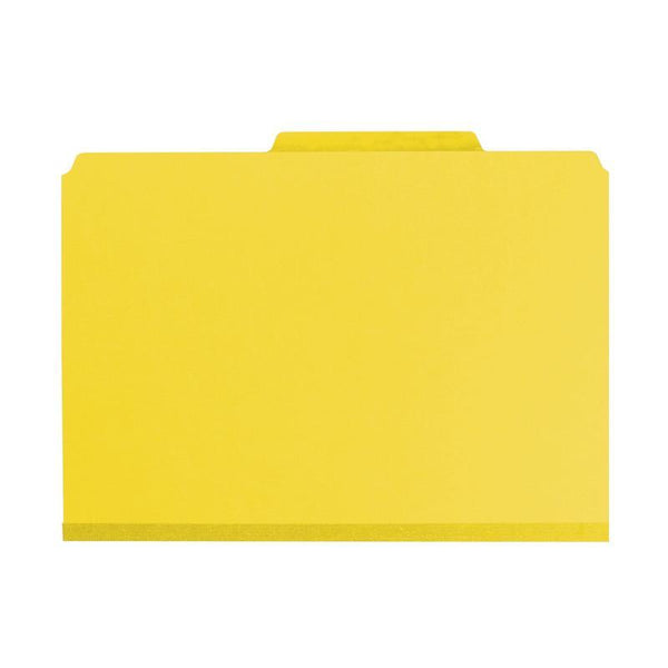 "Smead Pressboard Classification File Folder with SafeSHIELD® Fasteners, 3 Dividers, 3"" Expansion, Legal Size, Yellow, 10 per Box (19098)"