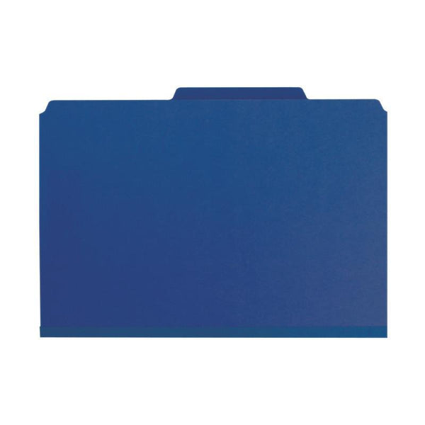 "Smead Pressboard Classification File Folder with SafeSHIELD® Fasteners, 2 Dividers, 2"" Expansion, Legal Size, Dark Blue, 10 per Box (19200)"