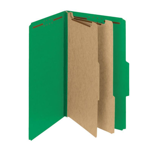 "Smead PressGuard® Classification File Folder with SafeSHIELD® Fasteners, 2 Dividers, 2"" Expansion, Legal Size, Green, 10 per Box (19201)"