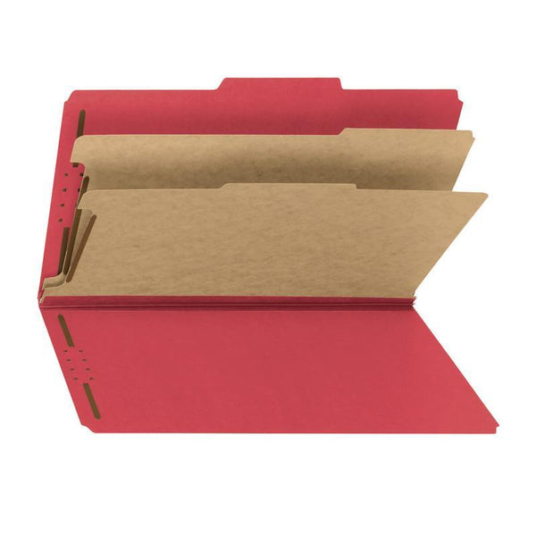 Smead PressGuard® Classification File Folder with SafeSHIELD® Fasteners, 2 Dividers, Legal Size, Bright Red, 10 per Box (19202)