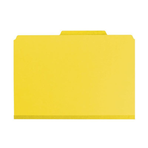 "Smead PressGuard® Classification File Folder with SafeSHIELD® Fasteners, 2 Dividers, 2"" Expansion, Legal Size, Yellow, 10 per Box (19203)"