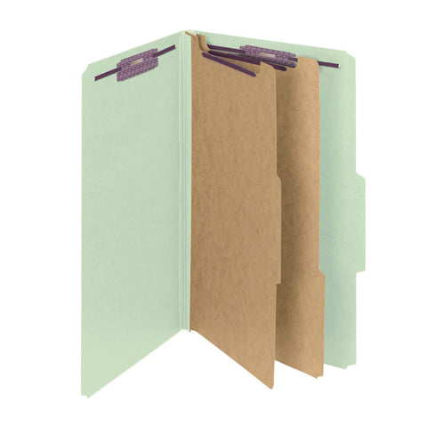 "Smead Pressboard Classification File Folder with SafeSHIELD® Fasteners, 2 Divider, 2"" Expansion, Legal Size, Gray/Green, 10 per Box (19206)"