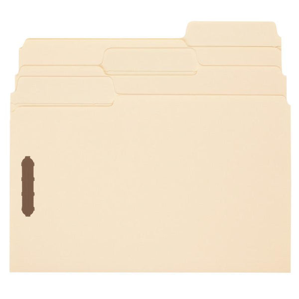 Smead SuperTab® Fastener File Folder, 2 Fasteners, Oversized 1/3-Cut Tab, Legal Size, Manila, 50 per Box (19535)