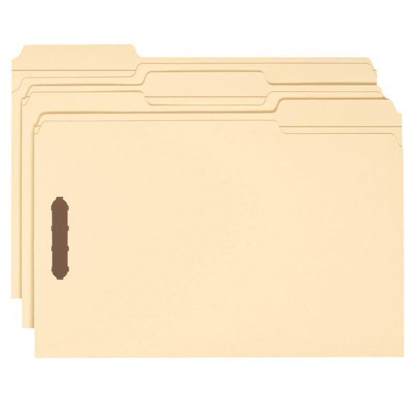 Smead Heavy-Duty Fastener File Folder, 2 Fasteners, 1/3-Cut Tab, Legal Size, Manila, 50 per Box (19600)