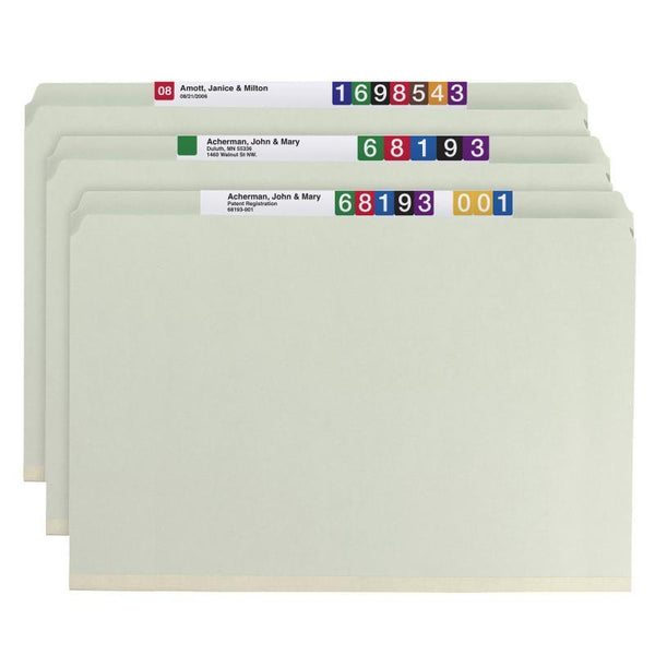 "Smead Pressboard File Folder with SafeSHIELD® Fasteners, 2 Fasteners, Straight-Cut Tab, 2"" Expansion, Legal Size, Gray/Green, 25 per Box (19910)"