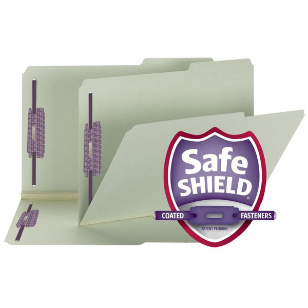 "Smead Pressboard File Folder with SafeSHIELD® Fasteners, 2 Fasteners, 2/5-Cut Tab Right Position, 2"" Expansion, Legal Size, Gray/Green, 25 per Box (19920)"