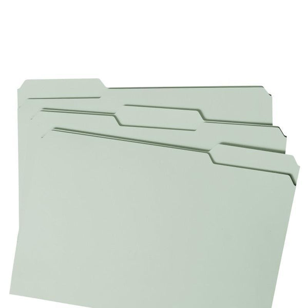 "Smead Pressboard File Folder with SafeSHIELD® Fasteners, 2 Fasteners, 1/3-Cut Tab, 1"" Expansion, Legal Size, Gray/Green, 25 per Box (19931)"