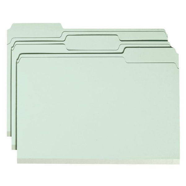 "Smead Pressboard File Folder with SafeSHIELD® Fasteners, 2 Fasteners, 1/3-Cut Tab, 2"" Expansion, Legal Size, Gray/Green, 25 per Box (19934)"