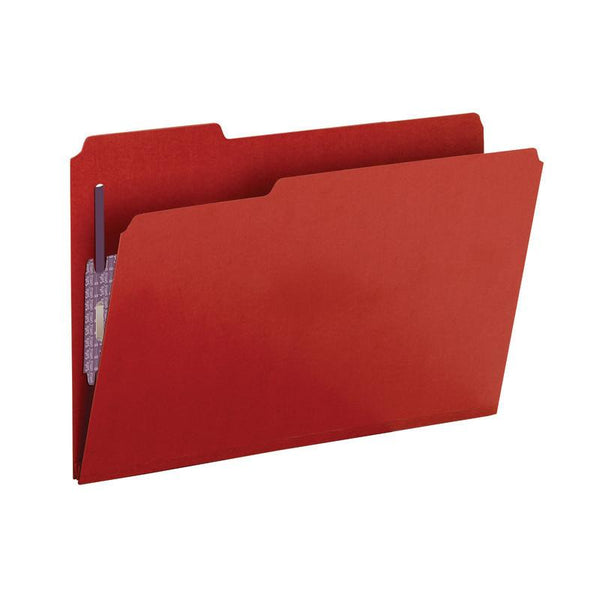 "Box of 25 Smead Pressboard File Folder with SafeSHIELD® Fasteners, 2 Fasteners, 1/3-Cut Tab, 2"" Expansion, Legal Size, Bright Red (19936)"