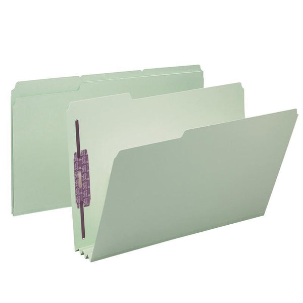 "Smead Pressboard File Folder with SafeSHIELD® Fasteners, 2 Fasteners, 1/3-Cut Tab, 3"" Expansion, Legal Size, Gray/Green 25 per Box (19944)"