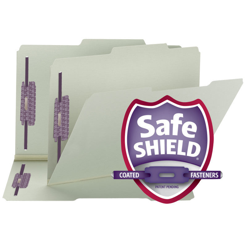 Smead Pressboard File Folder with SafeSHIELD® Fasteners, 2 Fasteners, 2/5-Cut Tab ROC Position, Guide Height, Legal Size, Gray/Green (19980)