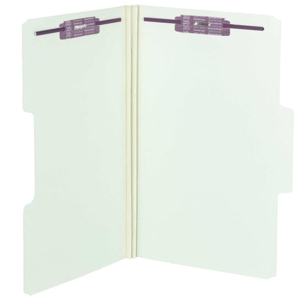 Box of 25 Smead SuperTab® Pressboard Fastener Folders with SafeSHIELD® Fasteners, 2 Fasteners, 1/3-Cut Tab, Gray/Green (19981)