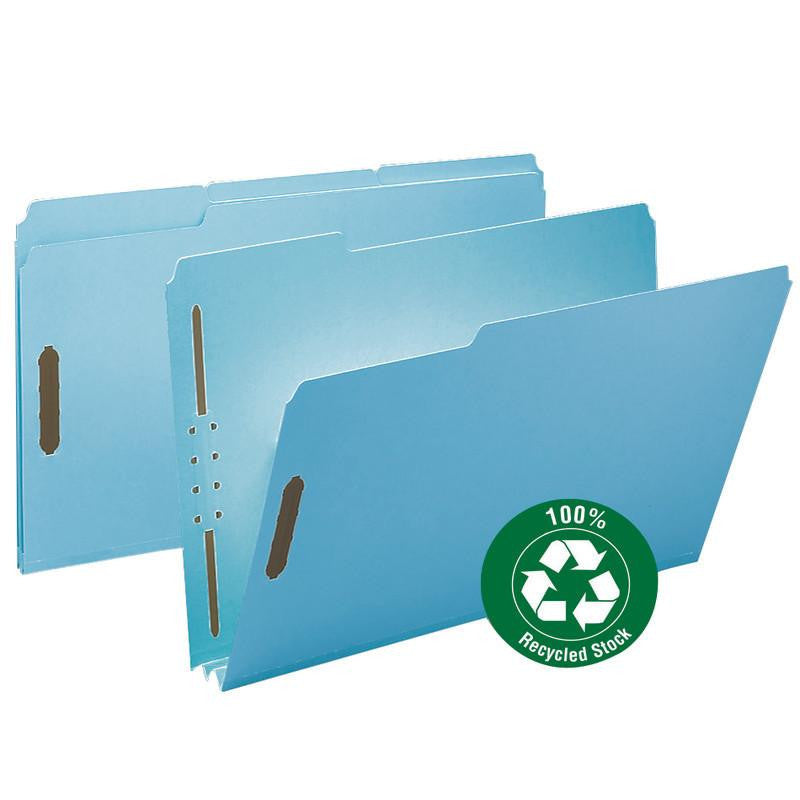 "Smead 100% Recycled Pressboard Fastener File Folder, 1/3-Cut Tab, 2"" Expansion, Legal Size, Blue, 25 per Box (20001)"