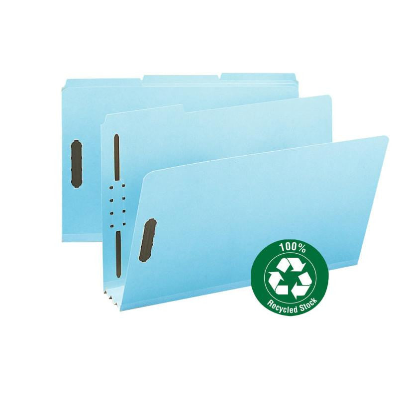 "Smead 100% Recycled Pressboard Fastener File Folder, 1/3-Cut Tab, 3"" Expansion, Legal Size, Blue, 25 per Box (20002)"