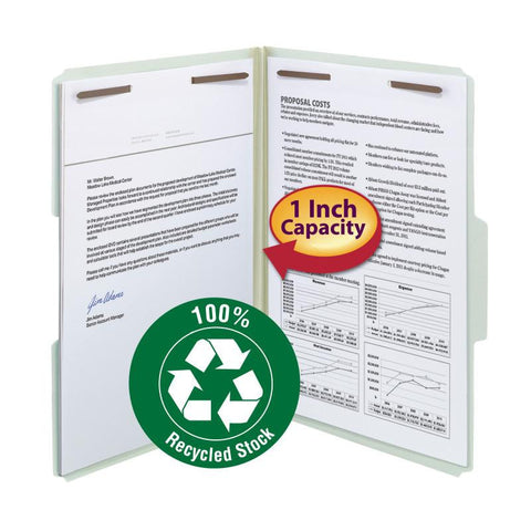 "Smead 100% Recycled Pressboard Fastener File Folder, 1/3-Cut Tab, 1"" Expansion, Legal Size, Gray/Green, 25 per Box (20003)"