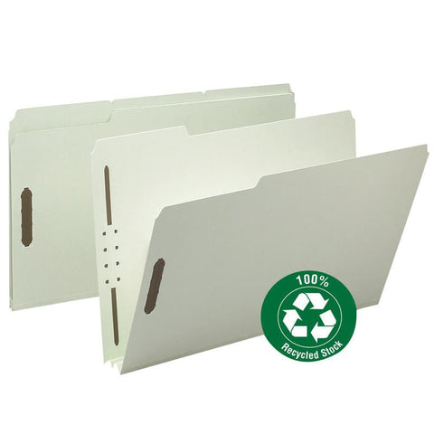 "Smead 100% Recycled Pressboard Fastener File Folder, 1/3-Cut Tab, 2"" Expansion, Legal Size, Gray/Green, 25 per Box (20004)"