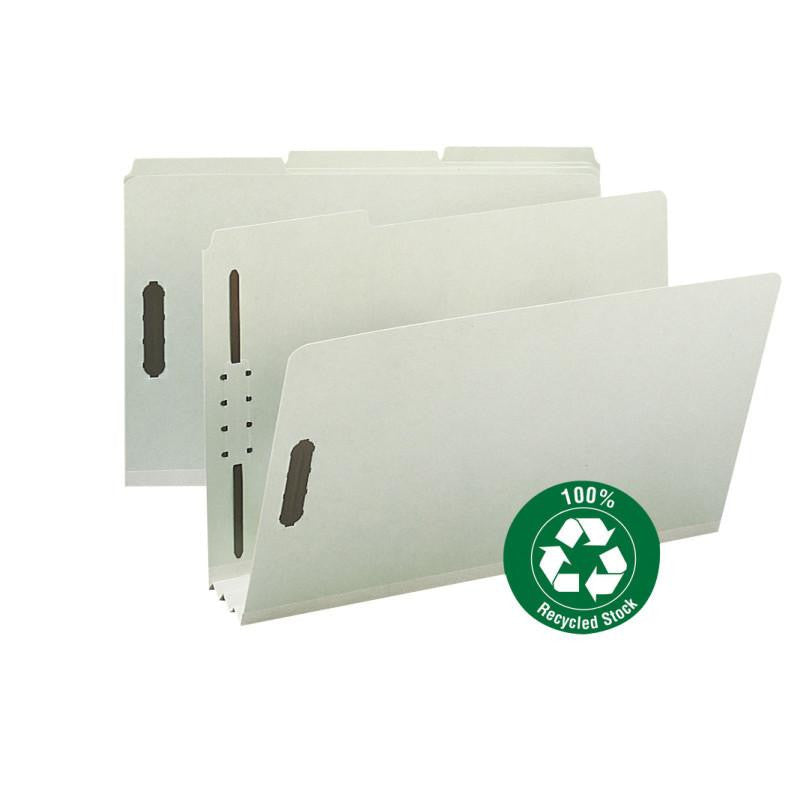 "Smead 100% Recycled Pressboard Fastener File Folder, 1/3-Cut Tab, 3"" Expansion, Legal Size, Gray/Green, 25 per Box (20005)"