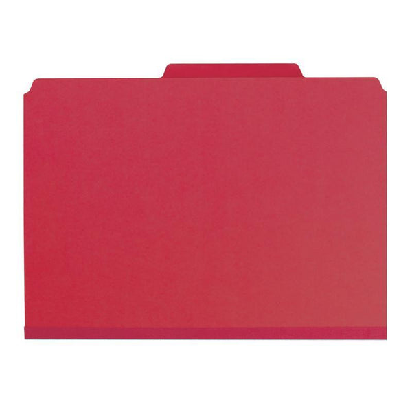 "Smead Pressboard File Folder, 1/3-Cut Tab, 1"" Expansion, Letter Size, Bright Red, 25 per Box (21538)"