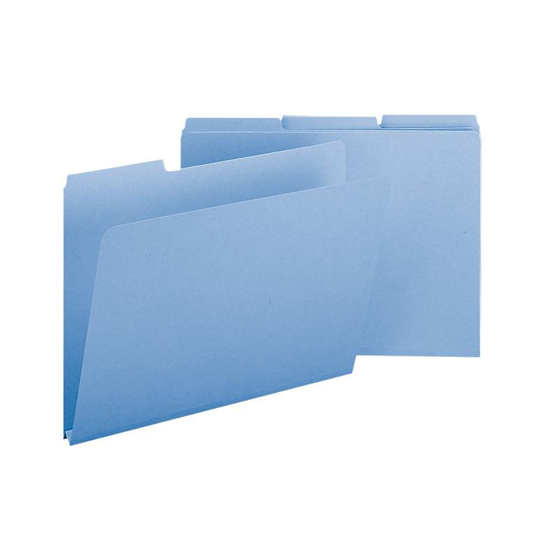 "Smead Pressboard File Folder, 1/3-Cut Tab, 1"" Expansion, Legal Size, Blue, 25 per Box (22530)"