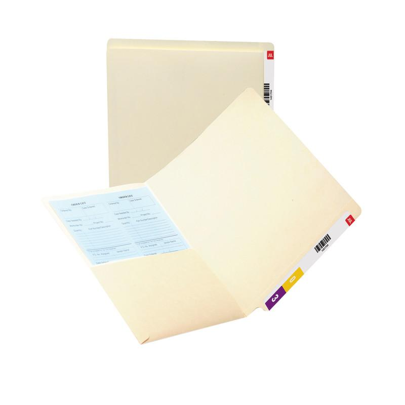 Smead End Tab Pocket Folder, Shelf-Master® Reinforced Straight-Cut Tab, 2 Pocket, Letter Size, Manila, 25 per Box (24117)