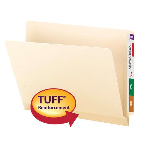 Smead End Tab TUFF® Laminated File Folder, Shelf-Master® Reinforced Straight-Cut Tab, Letter Size, Manila, 100 per Box (24125)