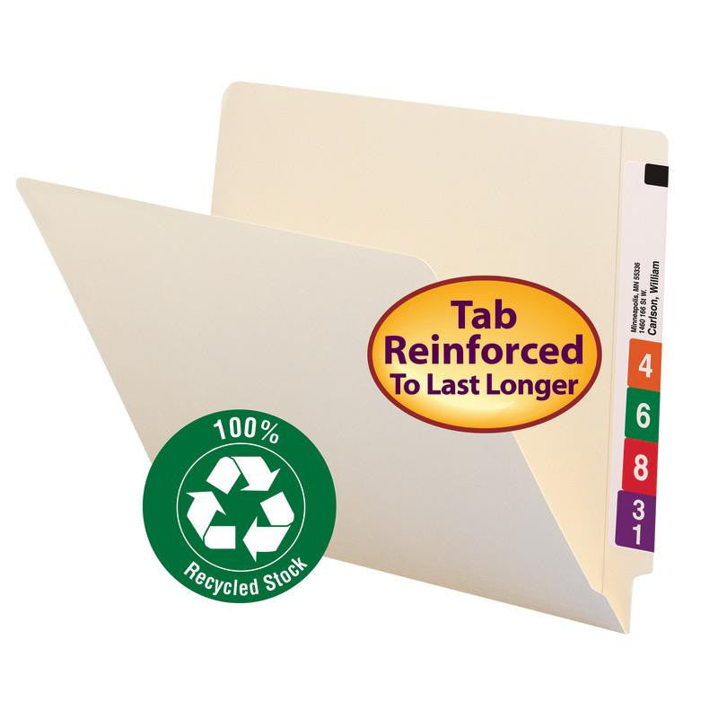 Smead End Tab 100% Recycled File Folder, Shelf-Master® Reinforced Straight-Cut Tab, Letter Size, Manila, 100 per Box (24160)
