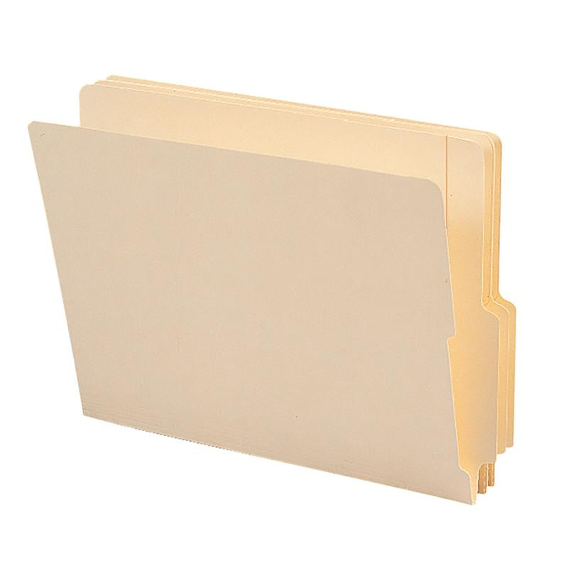 "Smead End Tab File Folder, Shelf-Master® Reinforced 4"" High Tab 1-1/8"" Up from Bottom, Letter Size, Manila, 100 per Box (24179)"