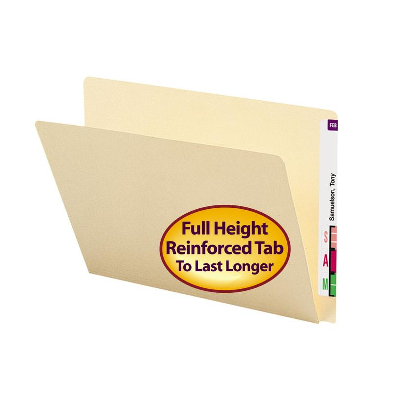 Smead End Tab File Folder, Straight-Cut Extended Tab, Letter Size, Manila, 100 per Box (24250)