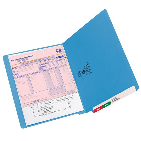 Smead Colored End Tab File Folder, Shelf-Master® Reinforced Straight-Cut Tab, Letter Size, Blue, 100 per Box (25010)