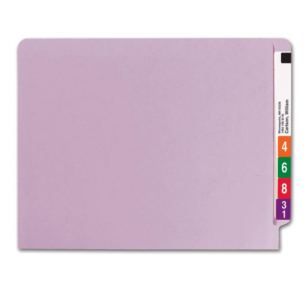 Smead Colored End Tab File Folder, Shelf-Master® Reinforced Straight-Cut Tab, Letter Size, Lavender, 100 per Box (25410)