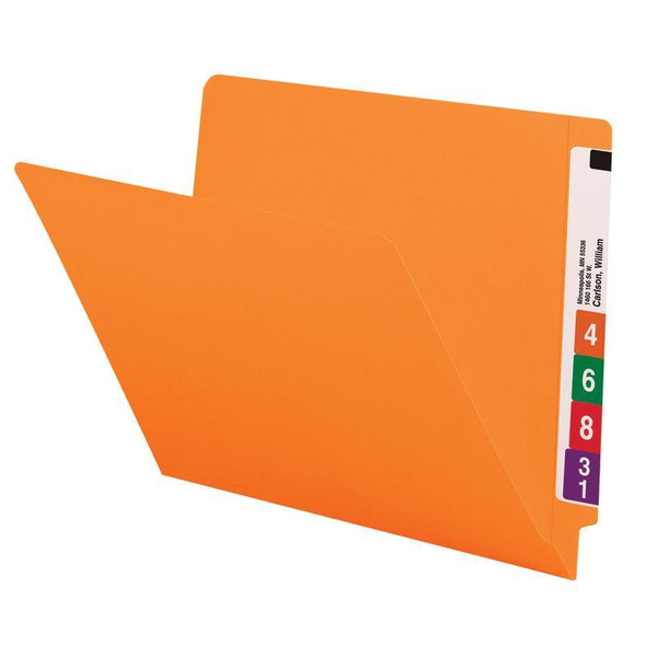Smead Colored End Tab File Folder, Shelf-Master® Reinforced Straight-Cut Tab, Letter Size, Orange, 100 per Box (25510)