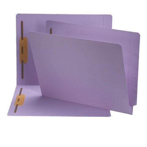 Smead End Tab Fastener File Folder, Shelf-Master® Reinforced Straight-Cut Tab, 2 Fasteners, Letter Size, Lavender, 50 per Box (25540)