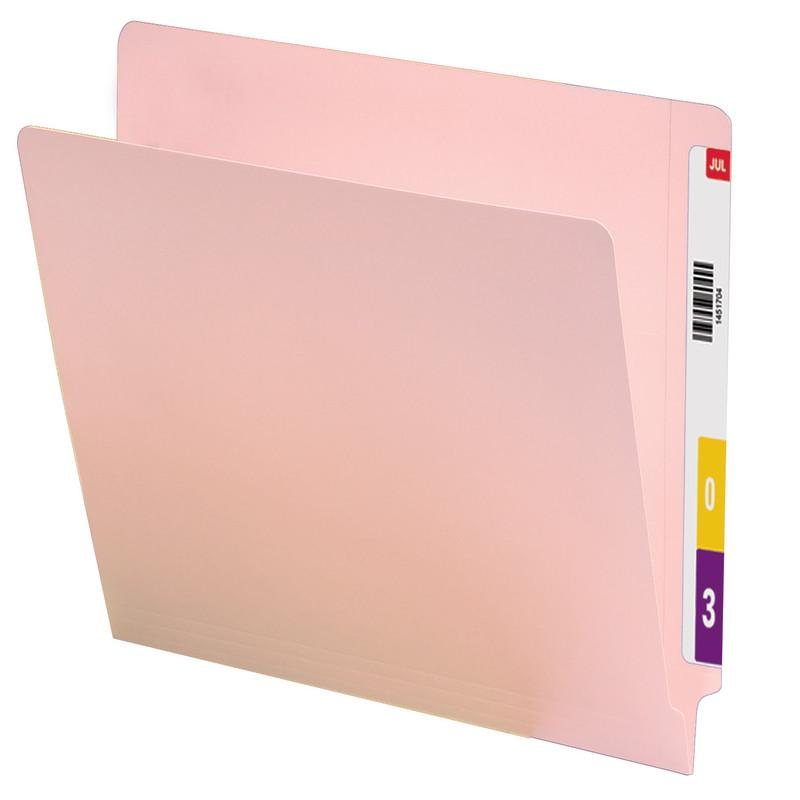 Smead Colored End Tab File Folder, Shelf-Master® Reinforced Straight-Cut Tab, Letter Size, Pink, 100 per Box (25610)